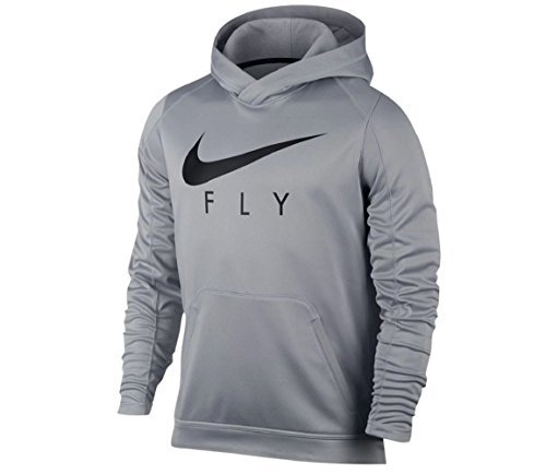 NIKE Men's Dri-Fit Therma Fly Pullover Hoodie Wolf-Grey/Black 844614-012 (Large)