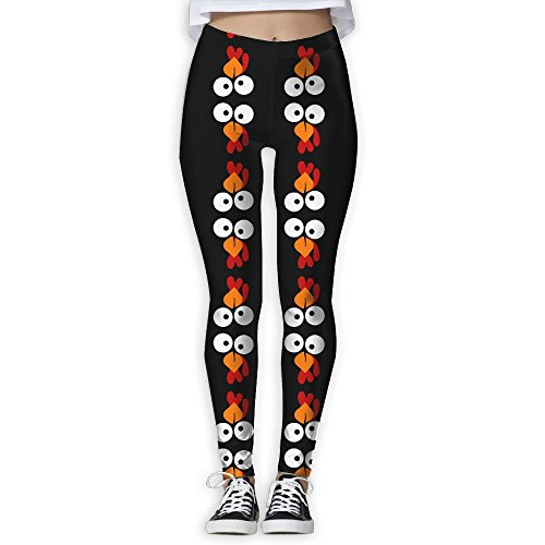 Funny Turkey Love Face Thanksgiving Women's Tummy Control Sports Running Yoga Workout Leggings Pants L