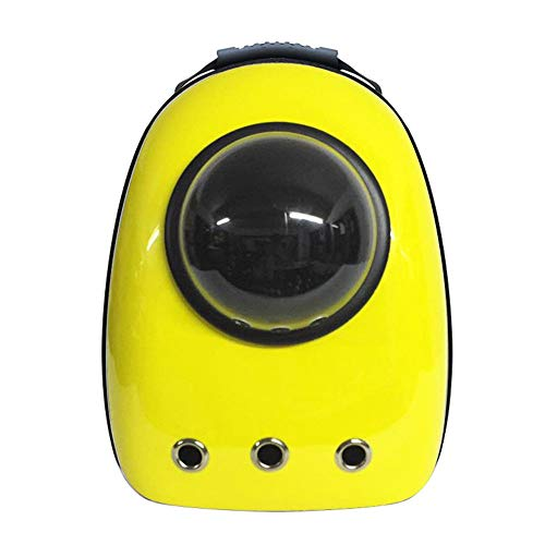 Love Woof & Meow Portable Travel Pet Carrier Backpack, Space Capsule Bubble Design, Waterproof Handbag Backpack for Cat and Small Dog Multi Colors to Choose - Yellow -