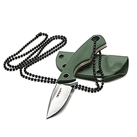 tonife Fixed Blade Neck Knife Tang 4 – 5/8 Inch Mono with Kydex sheath and Ball Chain