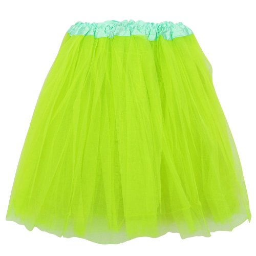 So Sydney Adult Size 3-Layer Tutu Skirt - Princess Costume Ballet Party Warrior Dash/Run (Neon Green),One -