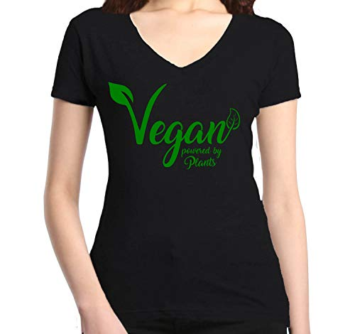 Shop4Ever Vegan Powered by Plants Womens V-Neck T-Shirt Health Shirts Slim FIT