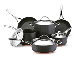 anolon nouvelle copper hard anodized nonstick cookware set 10 piece dark gray. Black Bedroom Furniture Sets. Home Design Ideas
