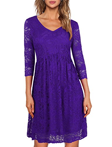 MOOSUNGEEK 3 4 Sleeve Party Dress,Ladies Above Knee Length Evening Dresses Purple L Knee Length Evening Gown