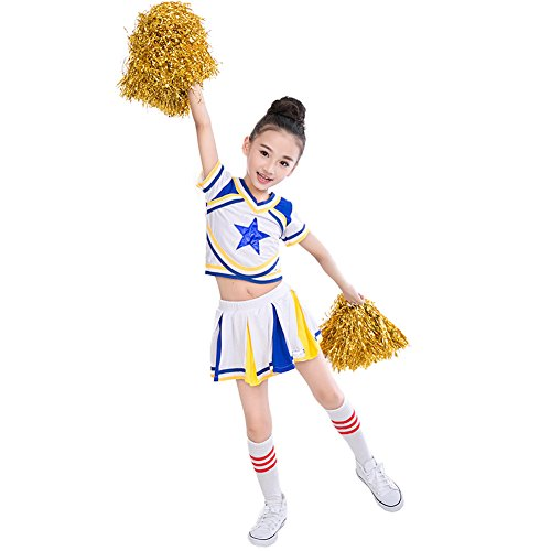 Girls Blue Cheerleader Short Sleeve Outfit+Poms+socks Fits 3-15Yrs Clothes Dress (3T-4T)