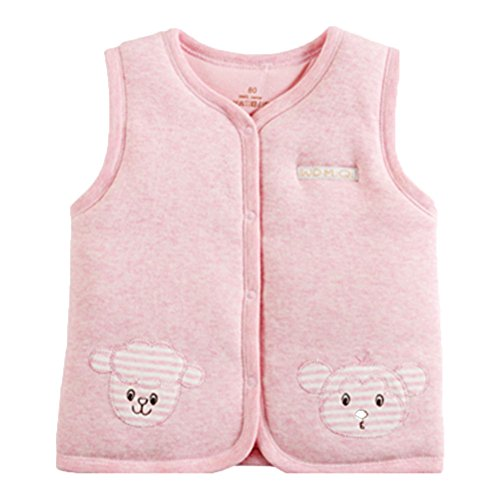 Fleece Baby Fleece Vest - Monvecle Baby Warm Vests Unisex Infant to Toddler Padded Waistcoat (3-6 Months, Pink)