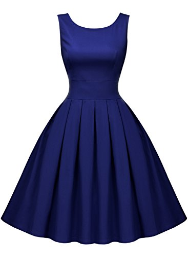 Miusol Women's Vintage 1950s Style Sleeveless Evening Party Dress (X-Large, Bright Blue)