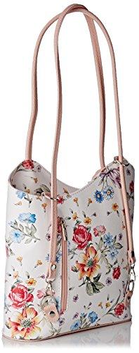Mujer De Ctm fiori Colores Cm Cuero In Varios Floral Hombro rosa Italy Genuino Bolsa Patrón En Made 27x30x9 dEwnrqgUw