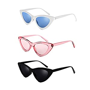 Davachi Cat Eye Clout Goggles Sunglasses Vintage Mod Style Retro Kurt Cobain Cateye Set White, Pink, Black