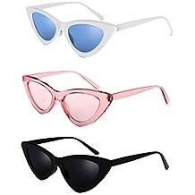 Cat Eye Clout Goggles Sunglasses Vintage Mod Style Retro Kurt Cobain Cateye Set White, Pink, Black