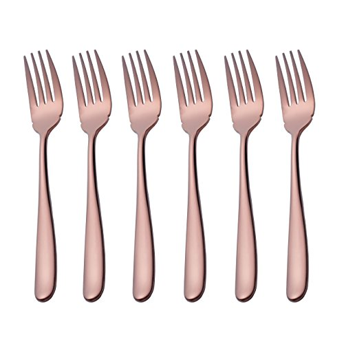 Fish Fork, Onlycooker 6 Piece 8-inch Stainless Steel Serving Flatware Table Silverware Dishwasher Safe (Rose Gold) (Fork Fish Rose)
