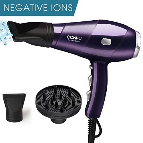 CONFU Professional Ionic Hair Dryer 1875W AC Motor Salon BlowDryer Fast Drying Light Weight Low Noise Hairdryers with Diffuser 2 Concentrators 3 Heat 2 Speed Settings Cool Shot ETL Certified