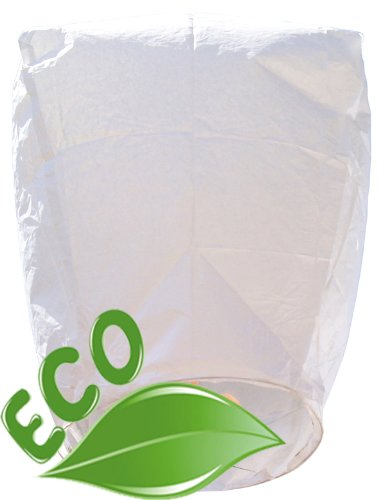 Just Artifacts 10 ECO Wire-Free FOLDABLE Flying Chinese Sky Lanterns (Set of 10, Wire-free Eclipse, White) - 100% Biodegradable, Environmentally Friendly Lanterns! by Just Artifacts