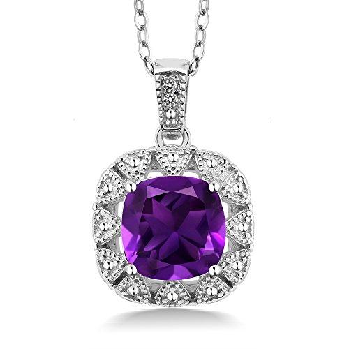2.06 Ct Cushion Purple Amethyst White Diamond 925 Sterling Silver (Diamond 925 Sterling Silver Pendant)