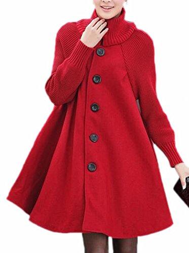 Jmwss QD Women Fashion Wool Blend Single Breasted Swing Pea Coat Red L
