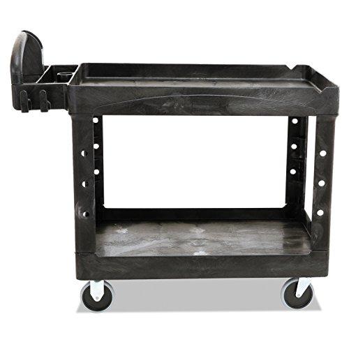 Rubbermaid FG452088BLA Commercial Heavy-Duty 2 Shelf Utility Cart, Lipped Shelves, Medium, Black, 500 Pound Capacity by Rubbermaid Commercial Products (Image #3)