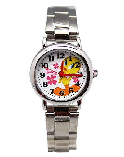 Hanna-Barbera Tweety Bird Stainless Steel Band Flower Dial Ladies Watch (25mm) (Tweety Bird Watch For Women)