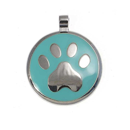 (LuckyPet Paw Print Enamel Jewelry Pet ID Tag for Dogs and Cats, Personalized Engraving on The Back Side, Small (1 inch), Mint)