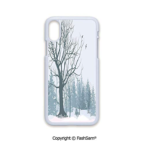 Fashion Printed Phone Case Compatible with iPhone X Black Edge Winter Season Theme A Tree Without Leaves in The Snowy Forest and Flying Birds Decorative 2D Print Hard Plastic Phone Case