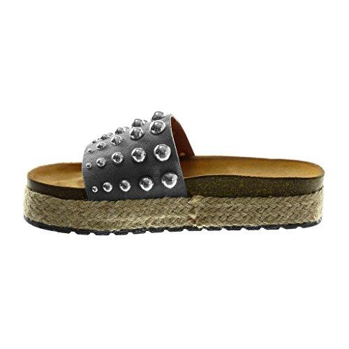 ... Angkorly Scarpe Moda Sandali Mules Slip-On Zeppe Donna Borchiati Perla  Corda Tacco Zeppa Piattaforma ... c2cc4791475
