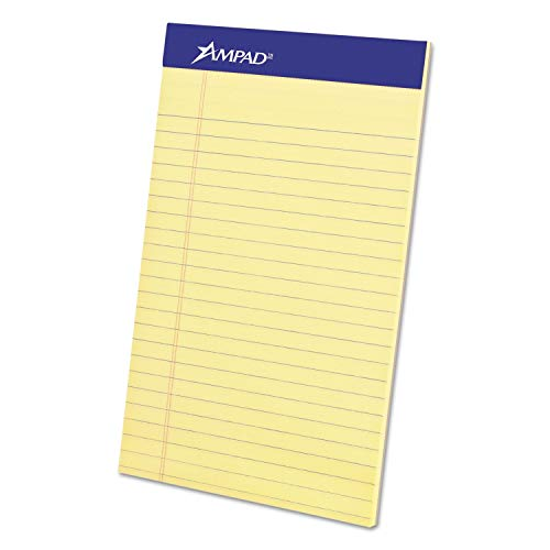 Ampad Perforated Writing Pad, Narrow, 5 x 8, Canary, 50 Sheets, Dozen - 20-204 (Pack of 2) by Ampad (Image #1)