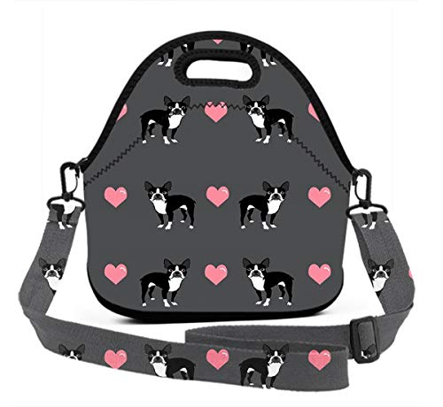 Boys Girls Boston Terrier Love Hearts Lunchbox Organizer for School Work Office Outdoor Picnic Meal Prep, Quick And Simple Organization Mom Bag Reusable Totebag (Market Flower Hours Boston)