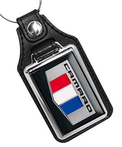 (Brotherhood 2016 Chevy Camaro Red White Blue Emblem Design Faux Leather Key Ring)