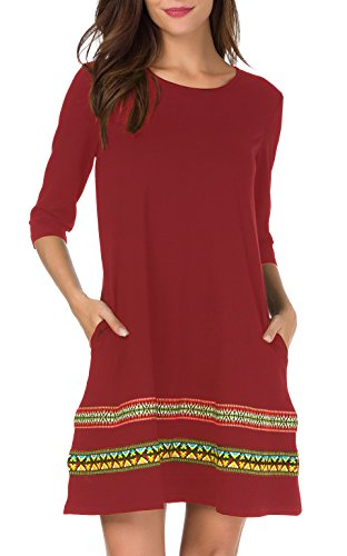 THANTH Womens 3/4 Sleeve A-Line Embroidered Loose Casual T-Shirt Tunic Dress Burgundy ()