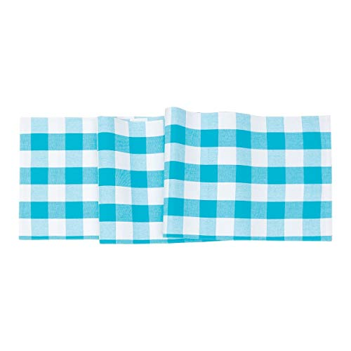 (C&F Home Franklin Buffalo Check Gingham Plaid Woven Turquoise and White Cotton Table Runner Table Runner Turquoise)
