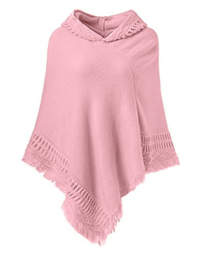 (SUNNYME Women Solid Color Poncho Hooded Fringes Crochet Shawl Capes Cover Up Cardigan Pink One Size)