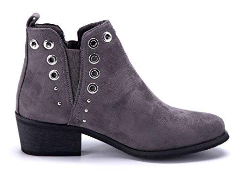 Schuhtempel24 Damen Schuhe Klassische Stiefeletten Stiefel Boots Blockabsatz Nieten/Cut Out/Schlupf 5 cm Grau
