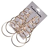 Veodhekai Women Earring Alloy 6Pairs/Set Vintage Big Circle Hoop Steampunk Ear Clip Earrings (Free, Gold)