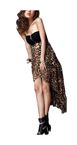 Abito Donna Ca Asimmetrica Marrone Leopardo Moda Senza Spalline Abito Chiffon Lungo wXwqfz