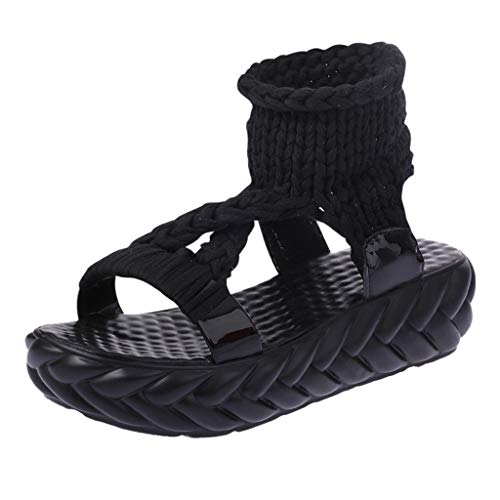 Flat Sandals,Women's Open Toe Platform Wedge Shoes,Summer Knitting Cotton Fabric Sandal,Casual Slip on Low Heeled Sandals (Black, US:7) ()