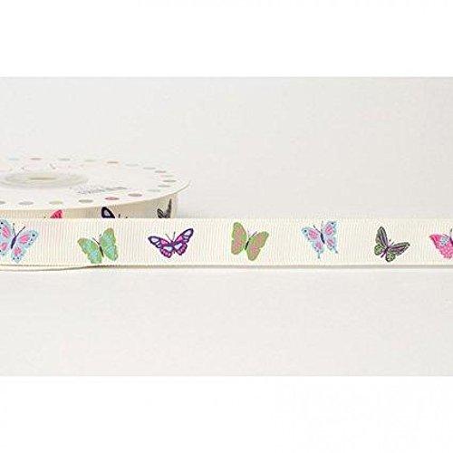 (16mm Reel Chic Butterfly Print Grosgrain Ribbon Antique White - per metre)