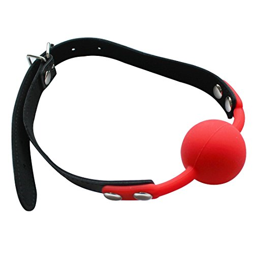 iEFiEL Open Breathable Leather Paly Buckle Belt Silicon Mouth Ball For Men Woman Red One Size