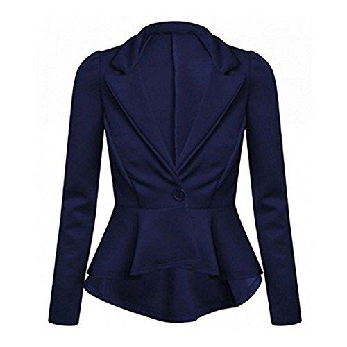 51 B Neuf Pour Femmes ajust Ourlet Pplum Style Femmes Bouton Veste Blazer Bleu Marine