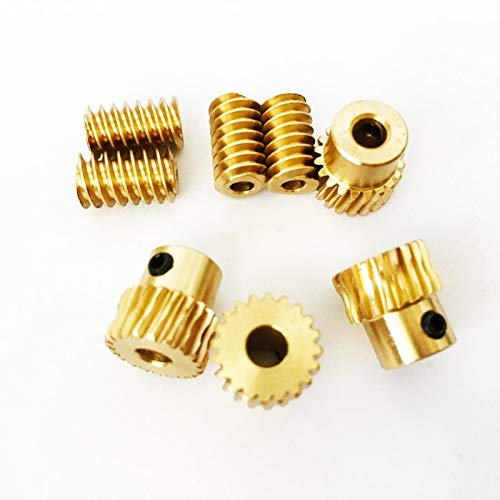 Fevas 1 Pcs New Motor Output Brass Copper Worm Wheel Gear 0.5 Modulus and 1:10 Reduction Ratio Helical Gear - (Color: Axle Worm and Tubine)