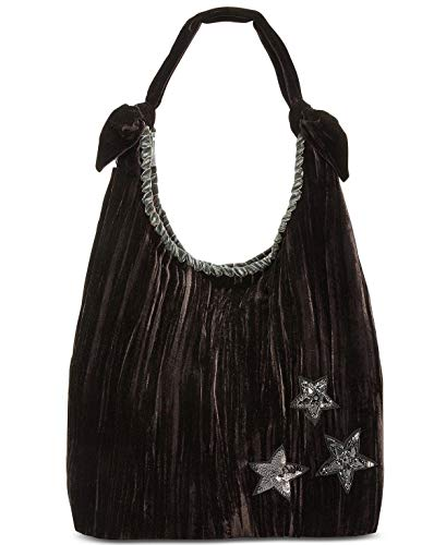 (Steve Madden Blilac Medium Hobo Shoulder Bag Black Velvet Pleated Sequin Rhinestone Stars)