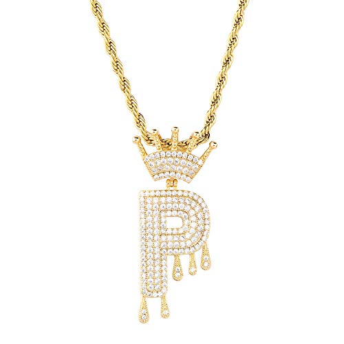 HECHUANG Micropave Simulated Diamond Iced Out Crowned Initial Dripping Letters Pendant with Rope Chain (Gold P, 24)