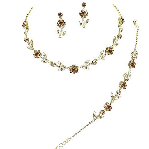 68863479d2602f Elegant 3 Piece Bronze Crystal Bridesmaid Bridal Necklace Earring Bracelet Set  Wedding Bling Gold M2