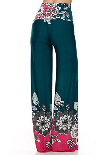 Lässiges Mujer Rosa Talla Cómodo Verde Super Flores U Marrón Pantalones small Diseño For Azul Petrol Pantalón Elástico Verano wOEIq4