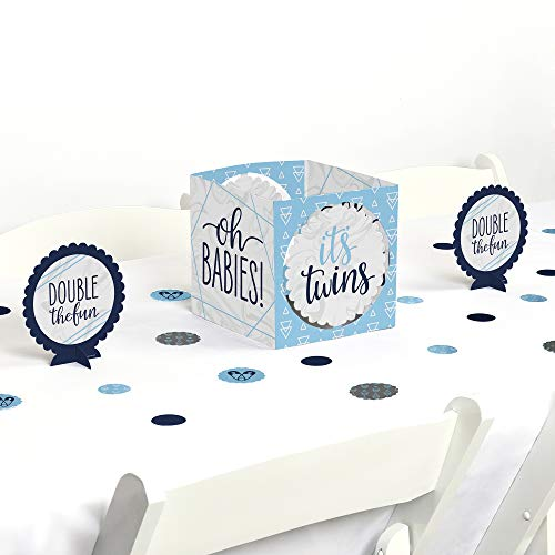 Big Dot of Happiness It's Twin Boys- Blue Twins Baby Shower Centerpiece and Table Decoration Kit -