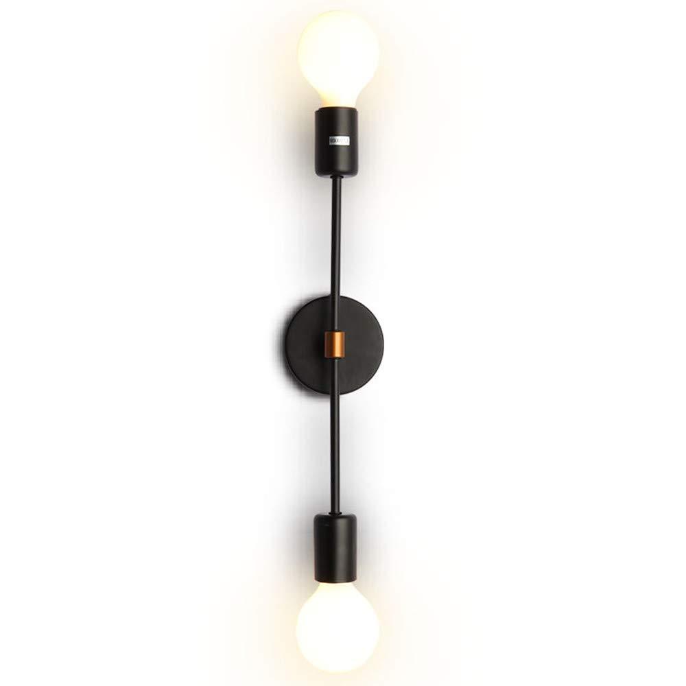 EFINEHOME 2-Light Wall Sconce - Minimalist Matte Black Vanity Lighting - 2 Bulb Modern Mid Century Industrial Wall Light Decor