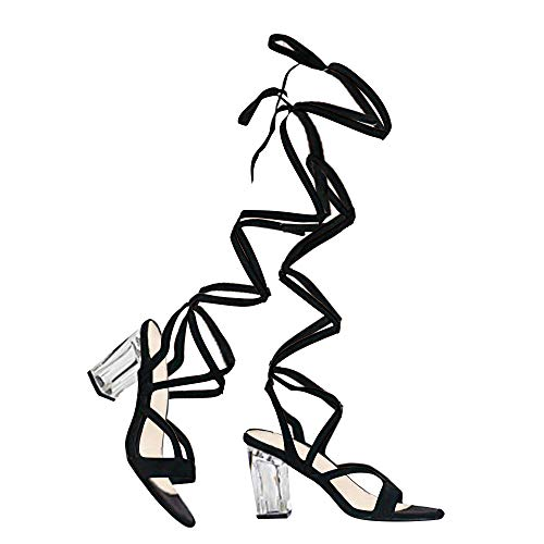 J. Adams Clear High Heel Lace Up Sandal - Trendy Knee High Tie Up Shoe - Sexy Comfortable Pump - Strut (Straps That Tie)
