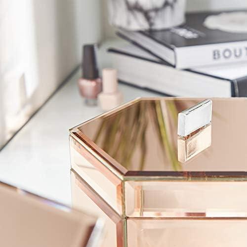 Idea regalo Beautify Set di 2 Scatole a Specchio per Gingilli Argento Per gioielli e accessori Organizer//Scrivania Ordinata