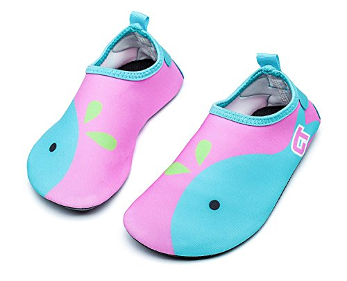 Qevellya Kids Water Shoes Swim Slip on Barefoot Aqua Socks Shoes for Beach Pool Surfing Boys Girls Toddler by Qevellya