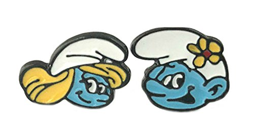 Smurfette and Vanity Smurf Stud Earrings With Gift Box from Outlander Gear