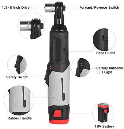 KKmoon Electric Ratchet Wrench 3/8inch 80N.M 240RPM 18V Cordless Power Ratchet Wrench Kit with a 6.0Ah Lithium-Ion Battery and Fast Charger 6pcs Metric Socket with 1 Battery