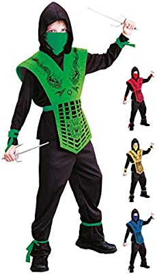 Foxxeo Disfraz de Ninja Negro Verde para niños Disfraz de Ninja ...